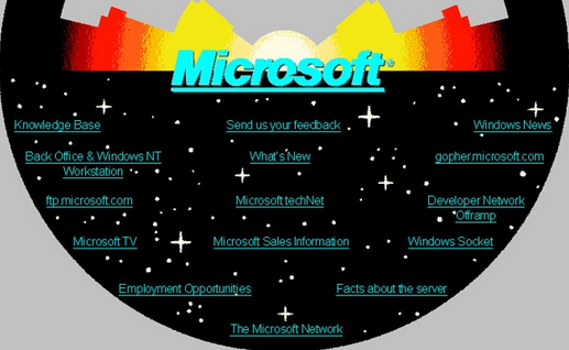 Microsofts First Webpage Ever