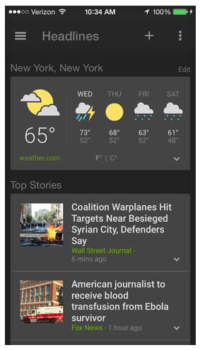 Google Launches News and Weather App for iOS