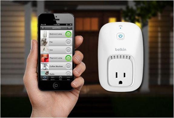 WeMo by Belkin is a smart switch to control your electronic devices using your phone