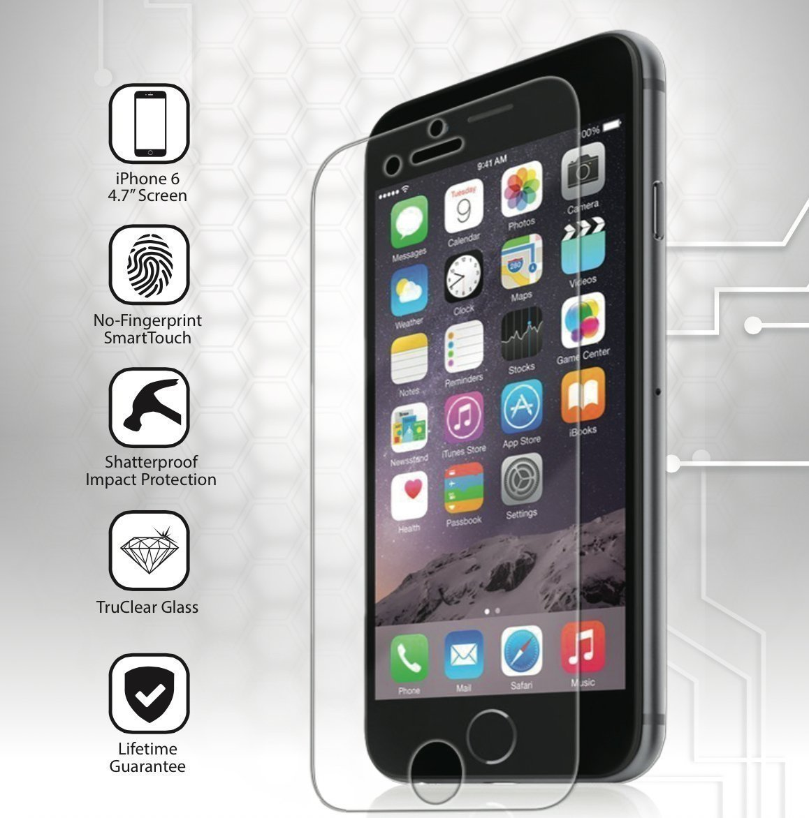 Tempered glass screen protector for iPhone 6/6 Plus makes sure you won't have to replace a cracked screen